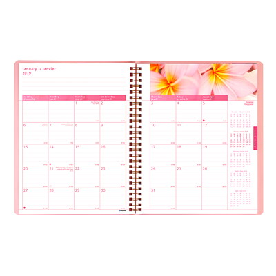 "Blueline Pink Ribbon Monthly Planner, 8 7/8"" x 7 1/8"", Pink, December 2018 - January 2020, Bilingual SOFT COVER  TWIN WIRE BILINGUAL 50% PCW FSC CERT"