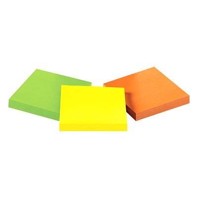 "Post-it Extreme Notes, Green/Yellow/Orange, 3"" x 3"", 45 Sheets/Pad, 3 Pads/Pk ASSORTED COLORS  3"" X 3"" 3 PADS/45 SHEETS"