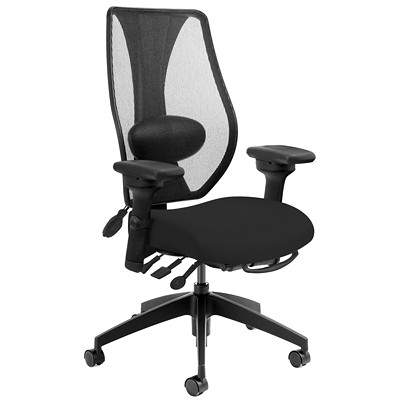 ergoCentric tCentric Hybrid Multi-Tilter Ergonomic Office Chair, Air Lumbar Support, Black Fabric Seat/Mesh Back AIR LUMBAR  LATERAL SWIVEL ARM MESH BACK  FABRIC SEAT