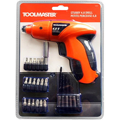 Toolmaster Stubby 4.8 Volts Drill CORDLESS 24 PIECES SCREWDRIVER LED BATTERY LEVEL INDICATOR