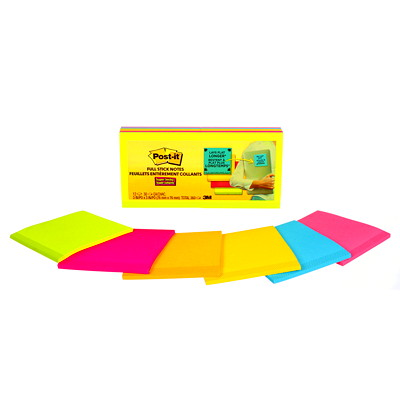 "Post-it Super Sticky Full-Adhesive Notes in Rio De Janeiro Colour Collection, Unlined, 3"" x 3"", 30 Sheets/Pad, 12 Pads/PK 3X3 ASSORTED COLOURS"