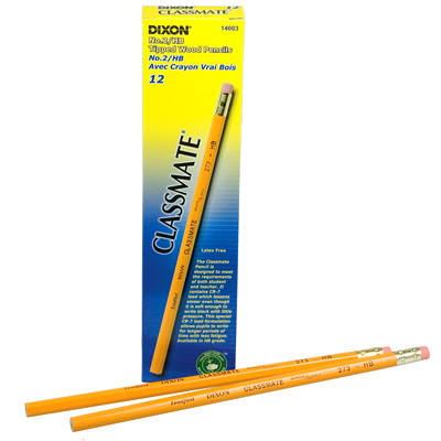 Dixon Classmate 273 Black Lead School Pencils, #2 HB, With Eraser, Yellow, 12/BX TIPPED