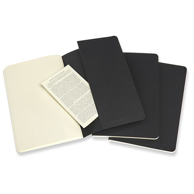 "Moleskine Cahier Journal, Black with Dotted Ivory Pages, 5 1/2"" x 8 1/4"", Bilingual, 3/PK"