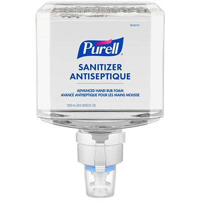 Purell Healthcare Advanced Hand Sanitizer Gentle & Free Foam, 70% Alcohol Content, For ES8 Dispensers, 1,200 mL, 2/CT