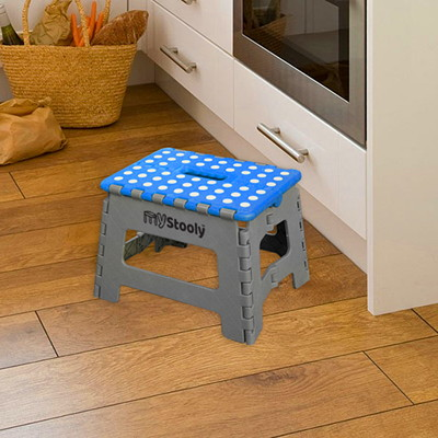 Awesome Mystooly Folding Step Stools Grey With Blue 9 And 15 2 Machost Co Dining Chair Design Ideas Machostcouk