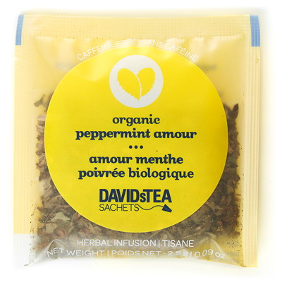 DAVIDsTEA Sachets Boxed Tea, Organic Peppermint Amour, 25/Box