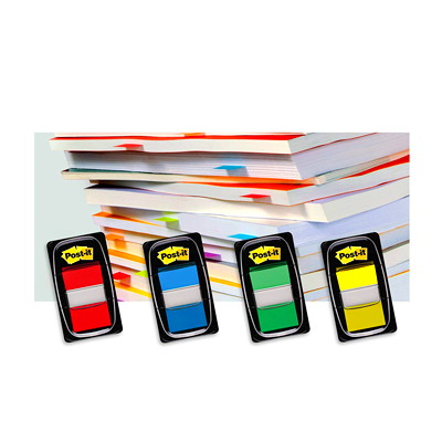 "Post-it Standard Flags, Orange, 1"" x 1 7/10"", 50/PK REMOVABLE TRANSPARNET TO MARK YOUR PLACE 50/DISPENSER"