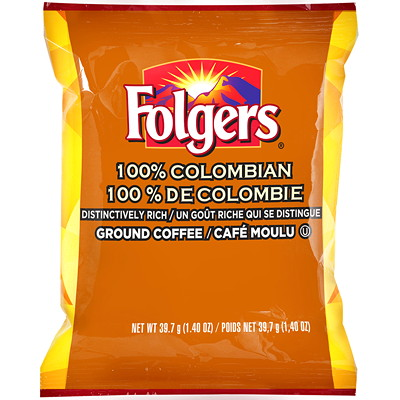 Folgers Ground Coffee Portion Packs, 100% Colombian, 1.4 oz, 42/BX 42 X 1.4OZ