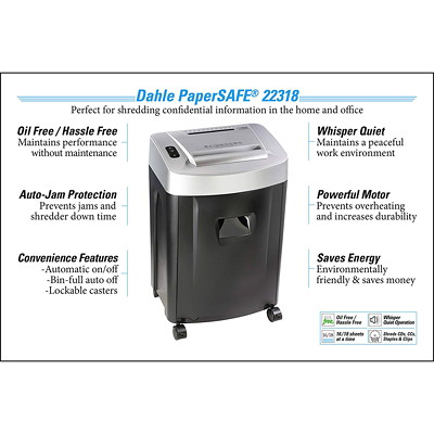 "Dahle PaperSAFE 22318 Shredder, Cross-Cut, 18 Sheet Capacity, P-4 Level (22318) P-4.  8.75"" THROAT. 9 GAL. 20MINSON/40MINSOFF.3520' T/PUT"