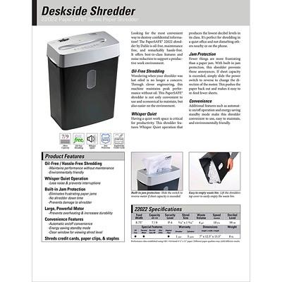 "Dahle PaperSAFE 22022 Shredder, Cross-Cut, 9 Sheet Capacity, P-4 Level (22022) P-4.  8.75"" THROAT. 4 GAL. 2 MINSON/30MINSOFF.140' T/PUT"