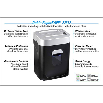 "Dahle PaperSAFE 22312 Shredder, Cross-Cut, 17 Sheet Capacity, P-4 Level (22312) P-4.  8.75"" THROAT. 7 GAL. 5 MINSON/20MINSOFF.675' T/PUT"