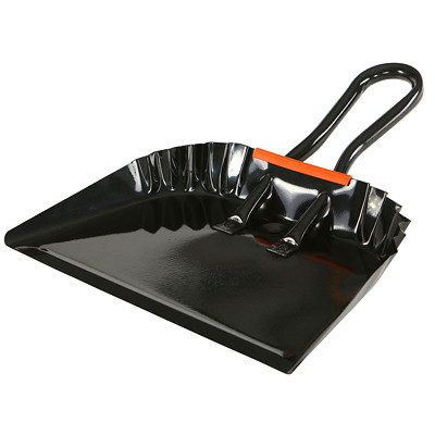"""Globe Commercial Products Metal Dustpan, Black, 12"""" HAND-HELD METAL DUSTPAN 12"""" EQUIPPED WITH HANG UP HANDLE"""