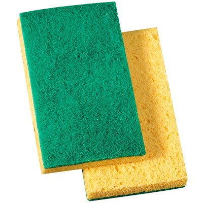 "Prime Source Scrubbing Sponges, Green/Yellow, 3 7/16"" x 6 1/16"" 3-7/16IN. X 6-1/16IN.  GREEN/Y ELLOW"