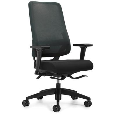 Global Sora High-Back Synchro-Tilter Chair, Black Fabric Seat/Mesh Back  SYNCHRO-TILTER  ADJUSTABLE ARM MESH BACK AND UPHOLSTERED SEAT