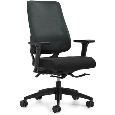 Global Sora Mid-Back Synchro-Tilter Chair, Black, Fabric Seat/Mesh Back  SYNCHRO-TILTER  ADJUSTABLE ARM MESH BACK AND UPHOLSTERED SEAT