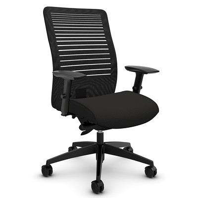 Global Loover Mid-Back Mesh Synchro-Tilter Chair SYNCHRO TILTER  ADJUSTABLE ARM MESH BACK AND UPHOLSTERED SEAT