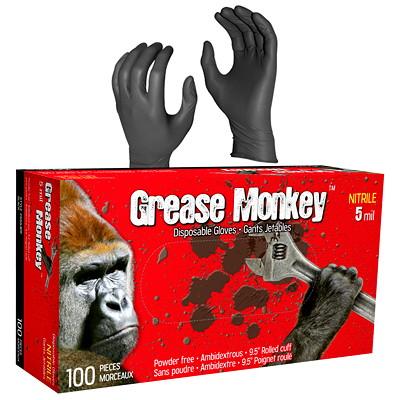 Watson Gloves Grease Monkey Disposable Nitrile Gloves, 5 Mil, Large, Black, 100/BX NITRILE  5 MIL  BLACK LARGE