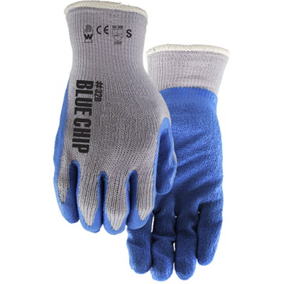 Watson Gloves Blue Chip-Coated Rubber Latex Gloves, Small, Blue RUBBER LATEX  CRINKLE FINISH SIZE SMALL