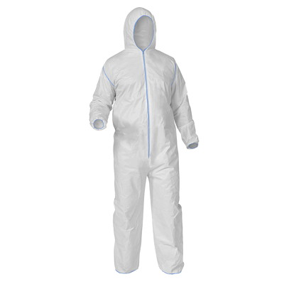 Ronco Polypropylene Coveralls, White, Large, 50/CS 50 COVERALLS