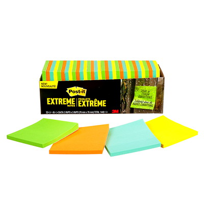 "Post-it Extreme Notes, Green/Orange/Mint/Yellow, 3"" x 3"", 45 Sheets/Pad, 32/PK ASSORTED 3"" X 3"" 45 SHTS/PAD GREEN  MINT  ORANGE  YELLOW"