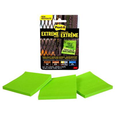 "Post-it Extreme Notes, Green, 3"" x 3"", 45 Sheets/Pad, 3/PK GREEN  3"" X 3"" 3 PADS/45 SHEETS"