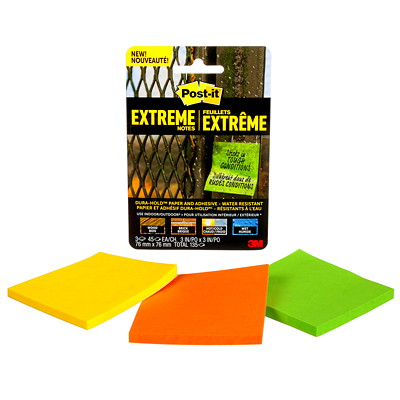 "Post-it Extreme Notes, Green/Yellow/Orange, 3"" x 3"", 45 Sheets/Pad, 3/Pk ASSORTED COLORS  3"" X 3"" 3 PADS/45 SHEETS"