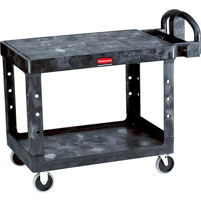 "Rubbermaid Commercial Heavy-Duty 2-Shelf Ergo Handle Utility Cart, Black, Flat-Shelf, Medium Size, 500 lb. Capacity 500 LB. CAPACITY  25-7/8IN.W X  43-7/8IN.L X 33-1/3""H BLACK"