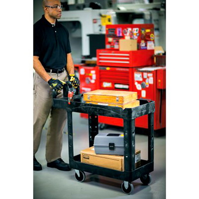 Rubbermaid Commercial Heavy-Duty 2-Shelf Ergo Handle Utility Cart, Black, Lipped-Shelf, Small Size, 500 lb. Capacity WITH LIPPED SHELF SMALL