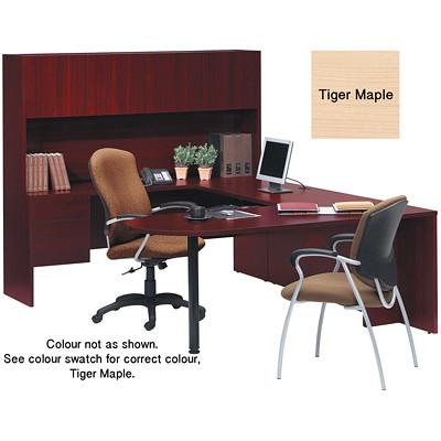 "Global Genoa U-Shaped Desk Package, Tiger Maple - Left-Handed Configuration U SHAPED GROUPING 72""WX98""DX65""H GLOBAL"
