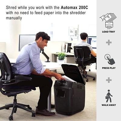 Fellowes AutoMax 200C Auto Feed Shredder, Cross-Cut, 200 Sheet Capacity, P-4 Level 200 SHEET CROSS CUT 8.5 GAL SHRED SIZE 0.16MM X 1.5MM