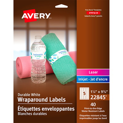 """Avery 22845 Durable Wraparound Labels, White, 9 3/4"""" x 1 1/4"""", 5 Labels/Sheet, 8 Sheets/PK 1 1/4"""" X 9 3/4"""" 40 LABELS  WHITE  WATER-RESIST"""