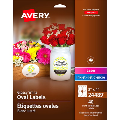 "Avery 24489 Print-to-the-Edge Permanent Oval Labels, Glossy White, 3"" x 4"", 4 Labels/Sheet, 10 Sheets/PK 3"" X 4"" 40 LABELS  GLOSSY WHITE  INK J"