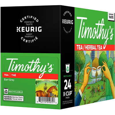 Timothy's Earl Grey Tea K-Cup Pods, Single-Serve, Box of 24