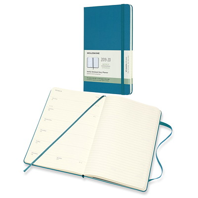 "MOLESKINE ACADEMIC PLANNER BLUE  5"" X 8 1/4""  ENGLISH JULY 2019 - DECEMBER 2020"