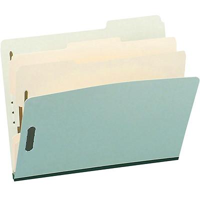 """Chemises de classement à deux intercalaires en carton comprimé Pendaflex, vert pâle, format légal, boîte de 10 LEGAL SIZE  GREEN 6 FASTNERS 1/3 CUT  3"""" EXPAND 2 DIVIDERS"""