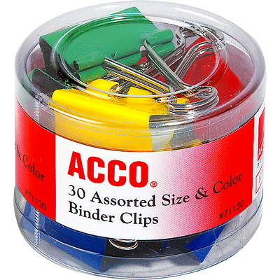 Acco Binder Clips, Assorted Colours, 30/PK ASSORTED SIZES AND COLOUR
