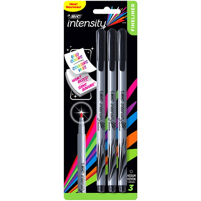 BIC Intensity Permanent Felt Marker Pens, Black, Medium 1.0 mm, 3/PK MEDIUM 3PK BLK