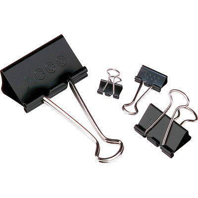 "Acco Fold-Back Binder Clips, Black/Silver, 3/4"" Small, 12/PK 5/16"" (SMALL)"