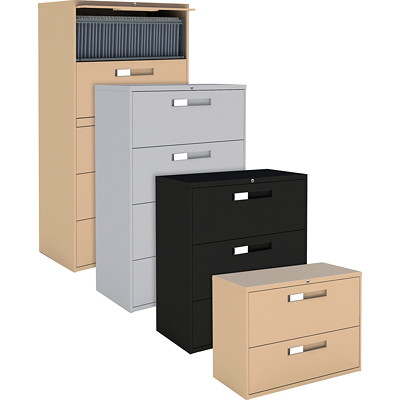 "Global 9300 Series Lateral File, 4-Drawer, 36""W, Grey W/LOCK   BARS  FIXED FRONT 36""WX18""DX54""H"