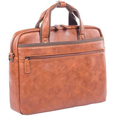 "Bugatti Vegan Leather Laptop Briefcase, Cognac 10"" TABLET SECTION. COGNAC HIDDEN TROLLEY PASS-THROUGH"