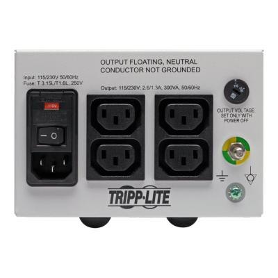 Tripp Lite Isolator Series Dual-Voltage 115/230V 300W 60601-1 Medical-Grade Isolation Transformer, C14 Inlet, 4 C13 Outlets - transformer - 300 Watt - 300 VA  CPNT
