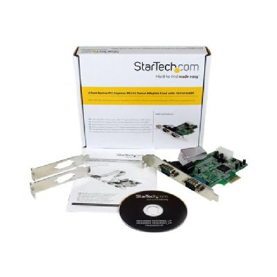 StarTech.com 2 Port Native PCI Express RS232 Serial Adapter Card with 16550 UART (PEX2S553) - serial adapter - PCIe - RS-232 x 2 our standard or small form fac tor computer through