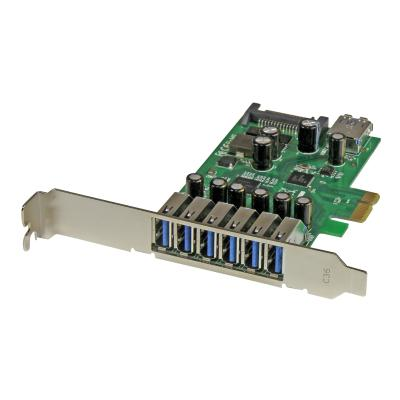StarTech.com 7 Port PCI Express USB 3.0 Card - Standard & Low-Profile - SATA Power - UASP Support - 1 Internal & 6 External USB 3.0 Ports (PEXUSB3S7) - USB adapter - PCIe 2.0 y adding 7 USB 3.0 ports with SATA power to your c