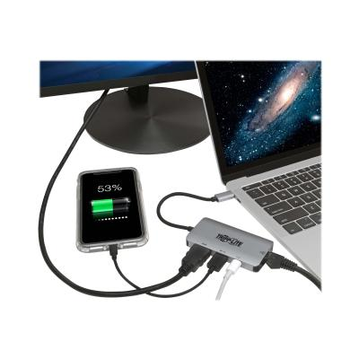 Tripp Lite USB C Multiport Adapter Converter w/ 4K HDMI Gigabit Ethernet Port & USB-A Hub, Thunderbolt 3 Compatible PD Charging - station d'accueil - HDMI ging - 100W  Ultra 4K HDMI  Gi gabit Ethernet & USB