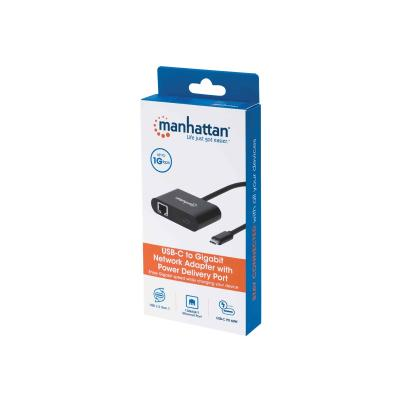 Manhattan USB-C to USB-C (with Power Delivery) and Gigabit RJ45 Network Adapter, 19.5cm, Male to Females, 1x Ethernet 10/100/1000 Mbps, Power Delivery up to 60W, 20V/3A, Black, Box - network adapter ernet port  Power Delivery up to 60 W (20 V / 3 A)