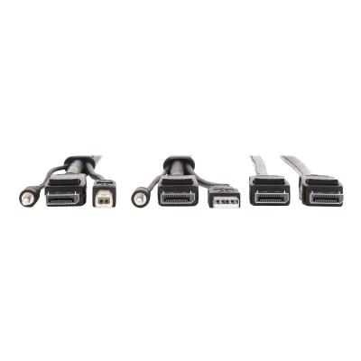 Tripp Lite Dual DisplayPort KVM Cable Kit 4K USB 3.5 mm Audio 3xM/3xM 10ft - video / USB / audio cable - 3.05 m  CABL