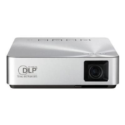 ASUS S1 - DLP projector  up to 3 hours projection. Dou bles as power bank.