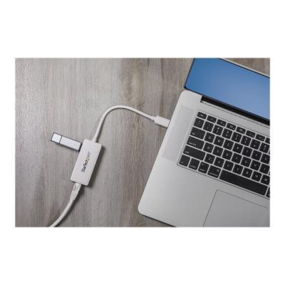 StarTech.com USB 3.0 to Gigabit Ethernet Adapter NIC w/ USB Port (White) - USB 3.0 NIC - 10/100/1000 Mbps USB 3.0 LAN Adapter (USB31000SPTW) - network adapter - USB 3.0 - Gigabit Ethernet d a USB 3.0 pass-through port to your laptop throu