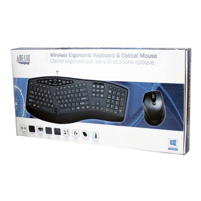 Adesso Tru-Form Media 1600 - keyboard and mouse set - with scroll wheel - French - black YBD MOUSE COMBO