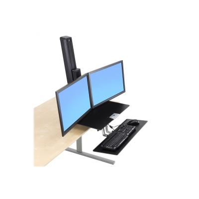 Ergotron WorkFit-S Dual Workstation with Worksurface Standing Desk - mounting kit - for 2 LCD displays / keyboard / mouse n for Dual Displays  with Work surface and Large Ke